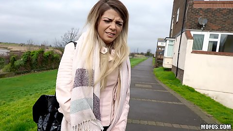 Bella Scaris looks a bit shocked at our public blowjob for money offer