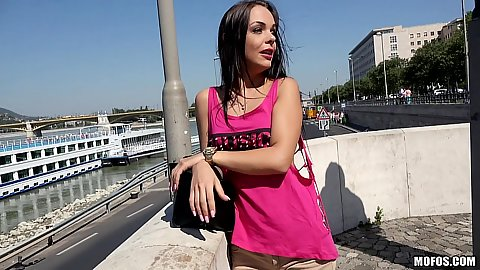 Outdoors by the river with euro pick up Hungarian Angelina Wild