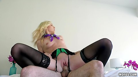 Cock riding in bed with blonde flight attendant Zoe Parker