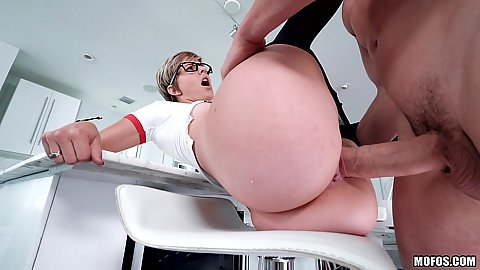 Large penis petite vagina entering on stool Mickey Blue