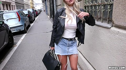 Miniskirt public cutie Sienna Day walking the streets for a pick up