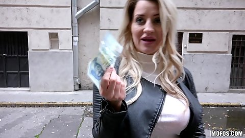 Picking up fully clothed busty Sienna Day on the street for cash and she flashes her tits