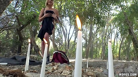 Outdoors kate England casting a spell to get cock