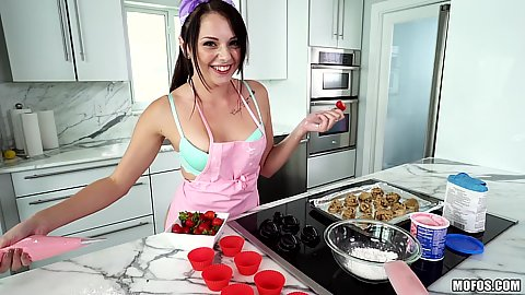 Immaculate kitchen baking girl Megan Sage