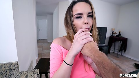 Temping Dillion Harper teases with sucking finger and giving head in pov