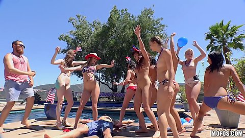 Bikini girls lesbian 4th of july pool party with Blake Eden