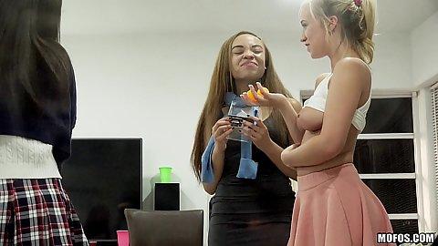 Blonde girls in sorority sister pledge Bailey Brooke