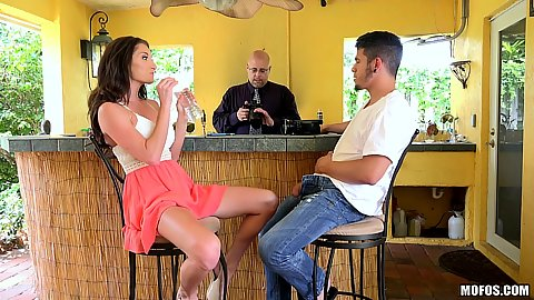 Very forward milf Silvia Saige spreads legs and wants to go down on a man by the bar
