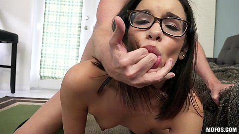 Very fit but flat chested girl Eden Sinclair mouth fingered while doggy screwing