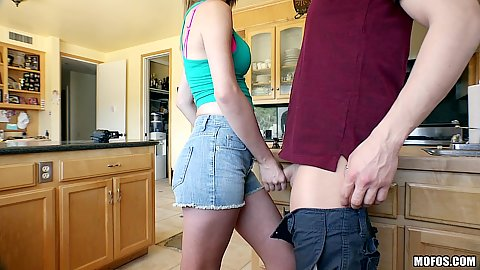 Fantastic CeCe Capella handling mans dick with her hand in kitchen