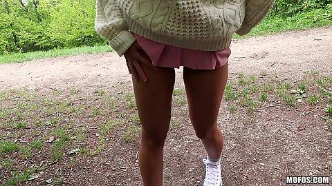 Girl Aisha has a wet pussy outdoors