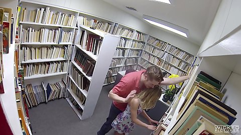 Hidden camera voyeur library nerd couple acting dirty Aubrey Sinclair