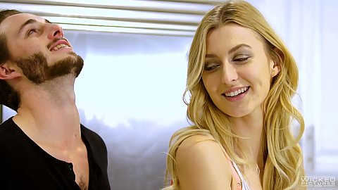 Smiling blondie Alexa Grace in more than friends coming on to man