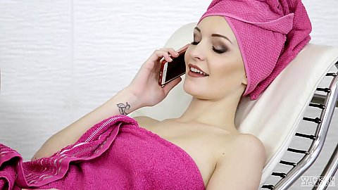 Wrapped in towel snappy Belle Claire calling up a dick
