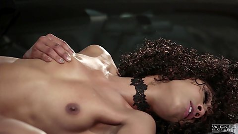 Fucked on a racing car with amazing black diva Misty Stone