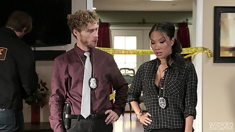 Police investigation unite with fully clothed asian Alexa Grace