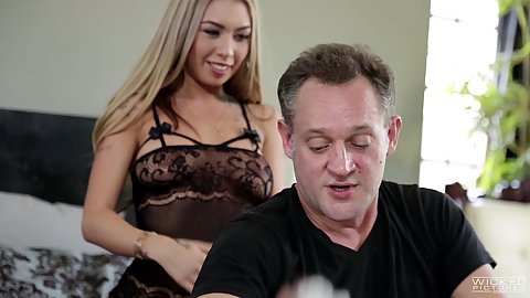 Lingerie blonde Kat Dior is a dirty talker and a dirty sucker