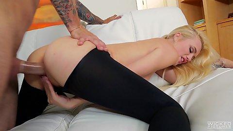 Ripped yoga pants college skinny blonde Alex Grey