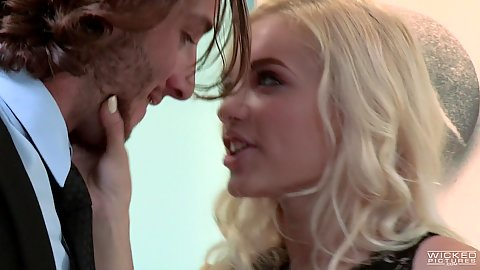 Sensual couple kissing and blowjob with Alex Grey