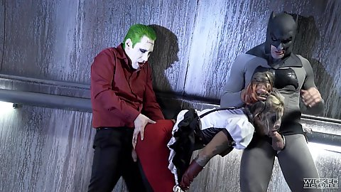Kleio Valentien bent over and fucked by batman and joker