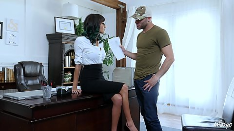 Office fully brunette Janice Griffith needs to go down