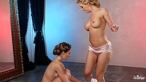 Girls eating and swinging Cassidy Klein and Cherie DeVille