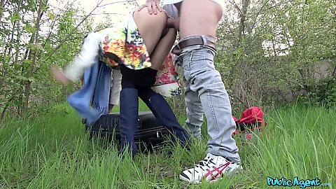 Slim girl fucked in her hairy cunt in public with pants pulled down in bushes Arwen Gold