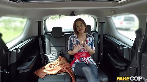 Cop car backseat with Kathy Fuckdoll ready to escape