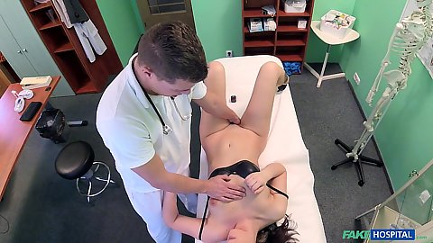 Doctor is fingering and groping his Russian patient Carolina Star