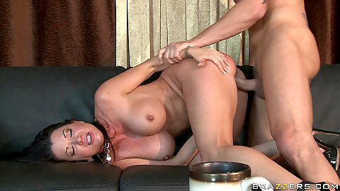 Raquel doggy hard fucked on the couch needs a squeeze