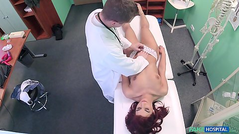 Doctor checking female patients vagina Jessica Red and then gets her naked