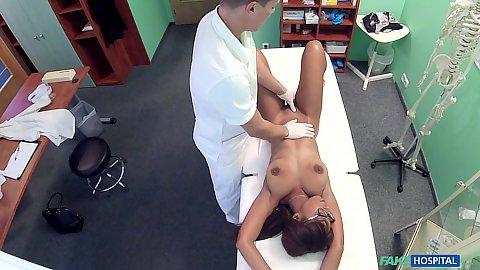 Doctor pervert Lola Marie groping his naked black female patient Lola Marie