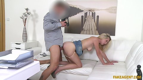 Skinny new model plowed from behind Nela Angel with pulled down underwear