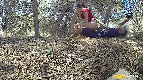 Fucked in the bushes with cop and Spanish girl Pamela Sanchez