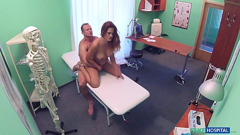 Natural chest Nicole gets pumped full of dick at doctors office