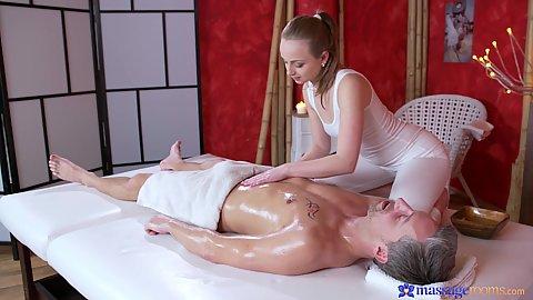Lady Bug giving oil massage and jerking older mans cock