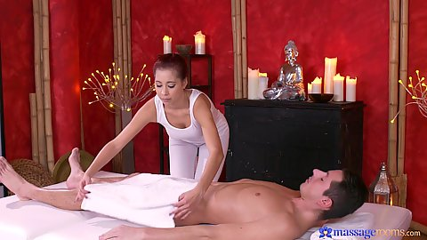 Paula Shy preparing her cfnm massage for man with oil