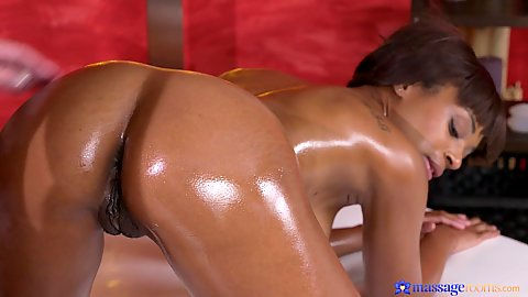 Massaging and oiling turned on black girl Lola Marie and white cock in her snatch