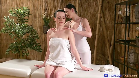 Wrapped in towel and relaxed for massage with Daphne Angel and Nikita Ricci