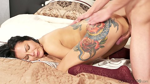 Couple sensual sex with small chested Russian Amanda Black and some ink done