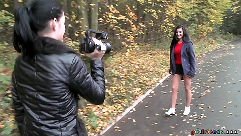 Girls doing their own filming in the park Anie Darling and Lucia Denvile