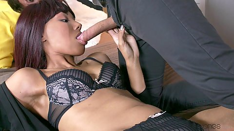 Ebony girl sucking white penis in Sade Rose