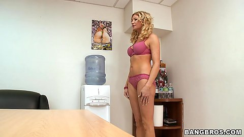 Busty sexy milf Christina Skkye undresses and sits on the desk