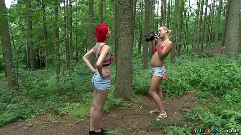 Silly girls in bikini tops Cristal Caitlin and Anne Swix run to the forest to make video