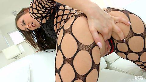 Self ass fingering from fishnet delicious milf girl in solo mode Olivia Netta