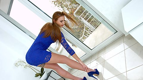 High heels redhead glamour babe Lulu Love solo show