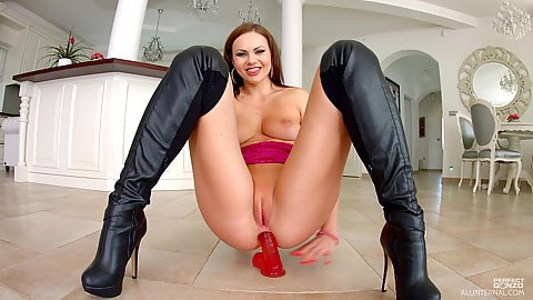 British girl sits on dildo with anal masturbation on the floor Tina Kay