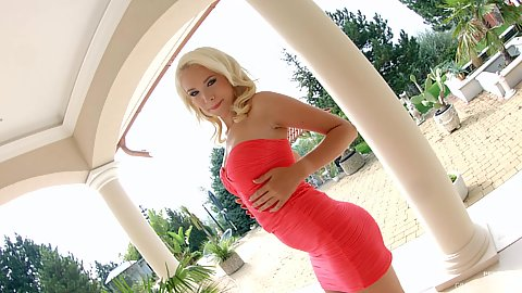 Captivating blonde Arteya wearing pink dress