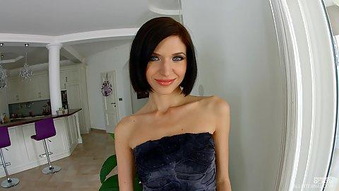 Smiling skinny college girl in solo scene Lina Arian