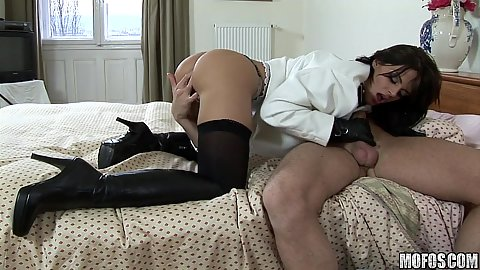 Big tits slut in a uniform seducing a dude